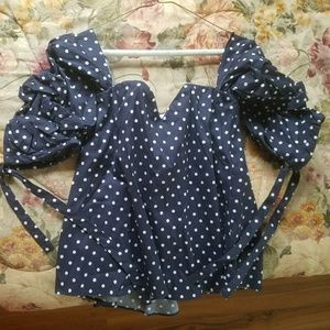 Venus navy blue polka dot off the shoulder top